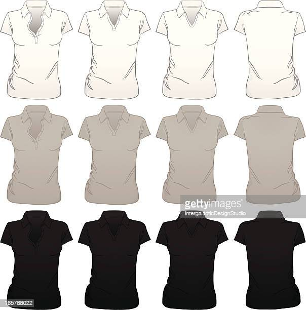 Blank Women's Polo Shirts with Multiple Collars