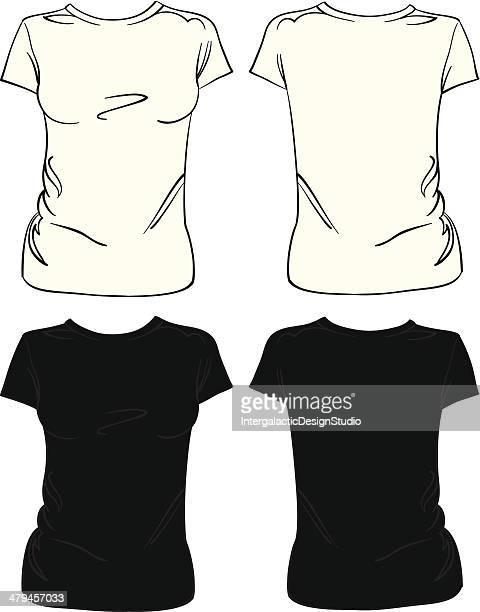 blank women's t-shirt - short sleeved stock illustrations