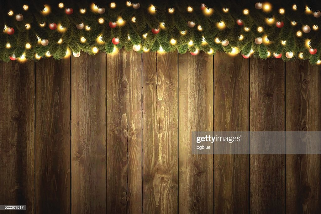 Blank Wooden Background with bright Christmas garland : stock illustration