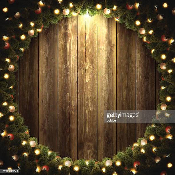 Blank Wooden Background with bright Christmas wreath