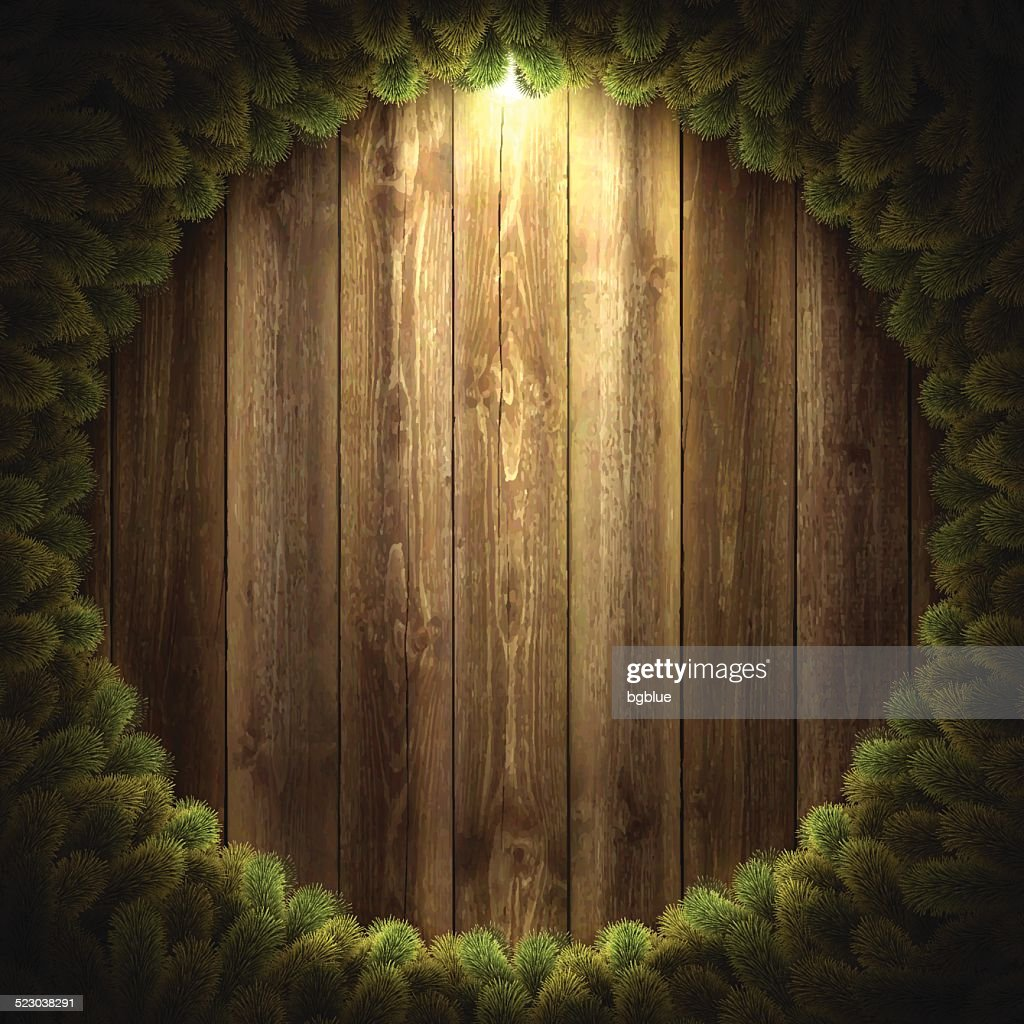 Blank Wooden Background with Christmas wreath