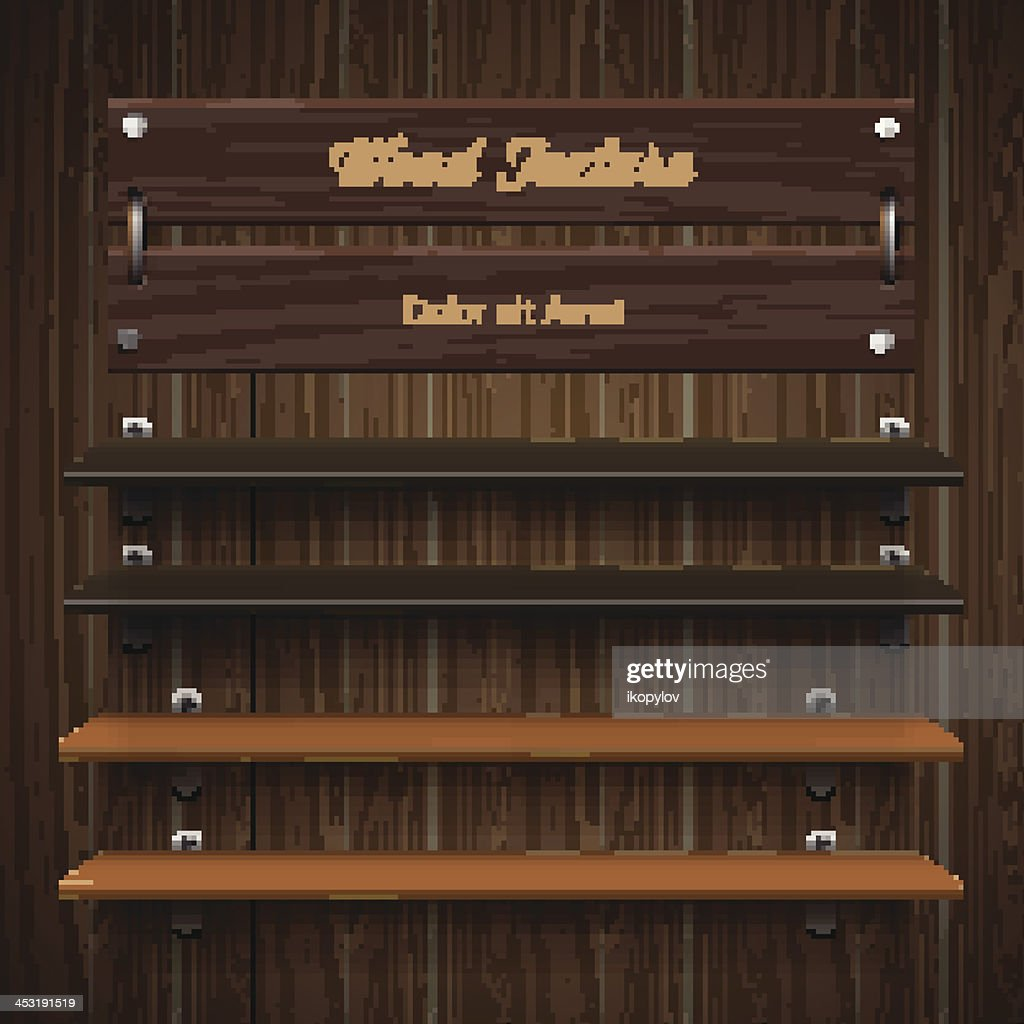 A blank wooden bookshelf with woods of different colors