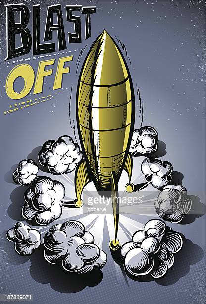 blast off - rocket stock illustrations