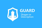 Blazon emblem with Shield and Stronghold castle - Vector type emblem for business flat style