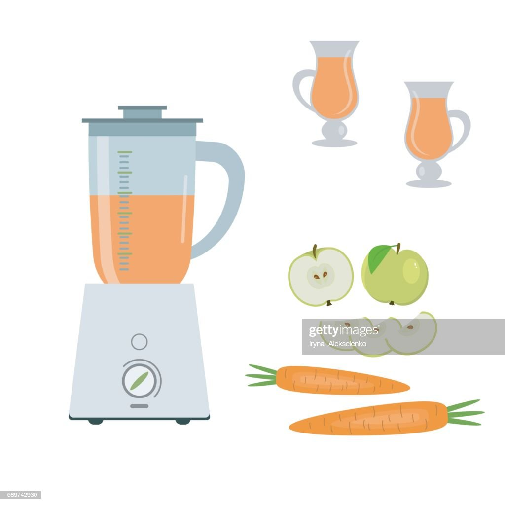 Blender, green apples and carrots, isolated on a white background