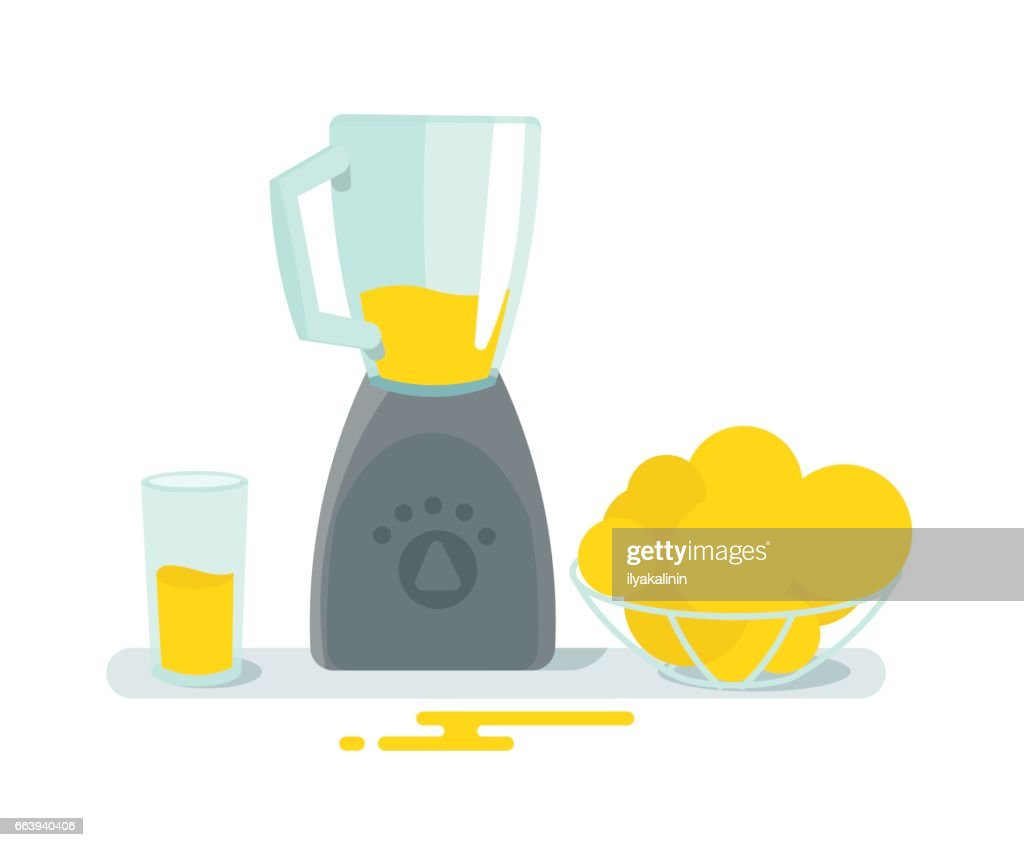 Blender mixer glass and fruit on the table. Cooking juice health. Home appliances