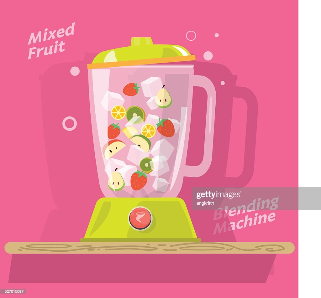 blending machine with mix of fruits- vector illustration