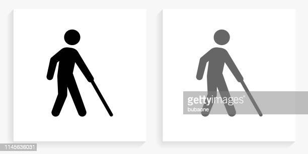 blind black and white square icon - blindness stock illustrations, clip art, cartoons, & icons