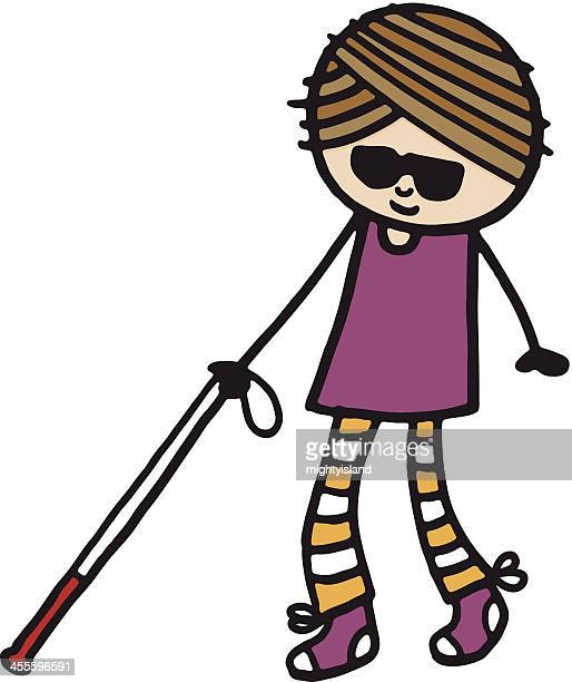 blind girl with stick - blindness stock illustrations, clip art, cartoons, & icons