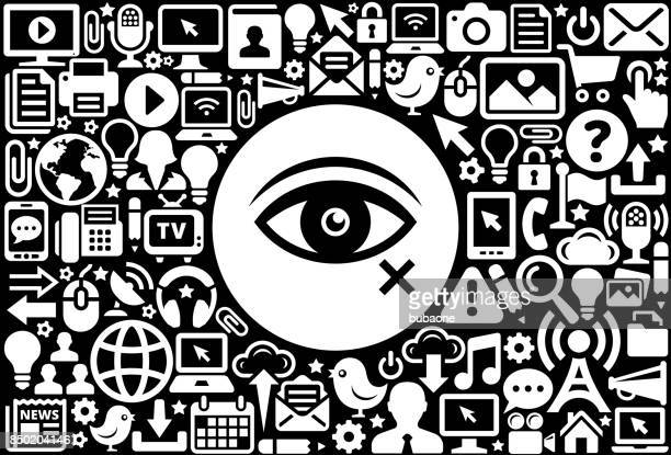 blind  icon black and white internet technology background - blinds stock illustrations, clip art, cartoons, & icons