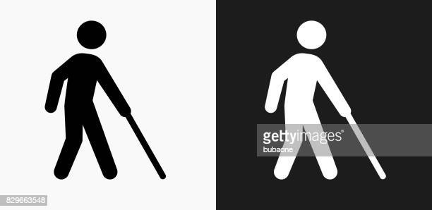 blind icon on black and white vector backgrounds - blindness stock illustrations, clip art, cartoons, & icons