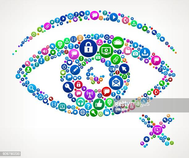 Blind Internet Communication Technology Icon Pattern