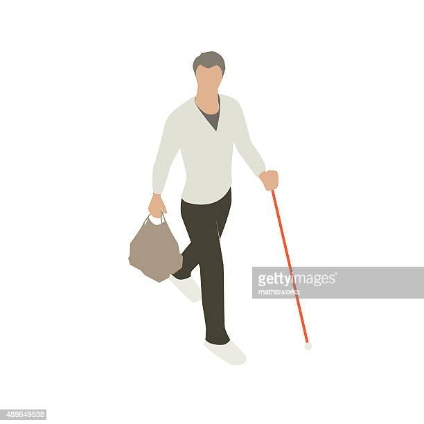 blind man with support cane - blindness stock illustrations, clip art, cartoons, & icons