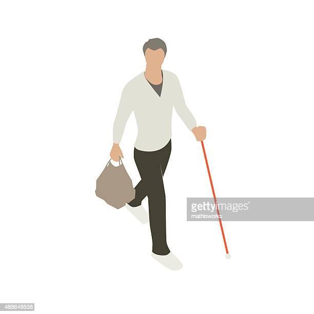 ブリント男性、サポートの杖 - 白杖点のイラスト素材/クリップアート素材/マンガ素材/アイコン素材
