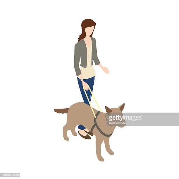 blind woman with seeing eye dog - blindness stock illustrations, clip art, cartoons, & icons