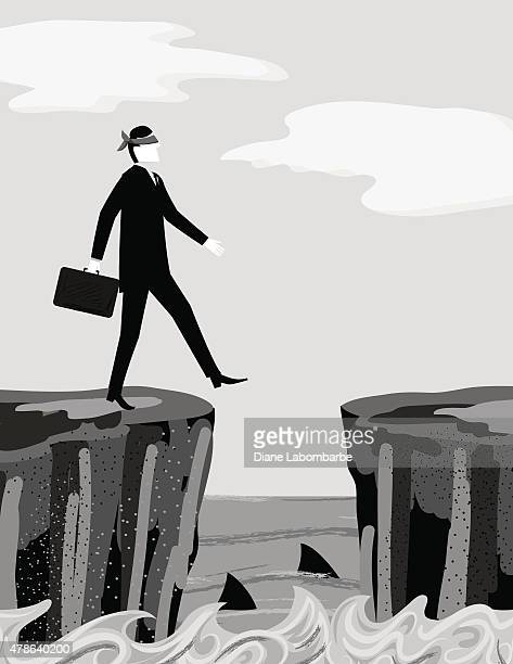 blindfolded businessman stepping off cliff into shark infested waters - infestation stock illustrations, clip art, cartoons, & icons