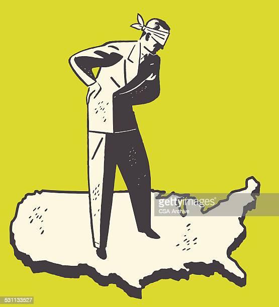ilustraciones, imágenes clip art, dibujos animados e iconos de stock de blindfolded hombre en el mapa - ojos tapados