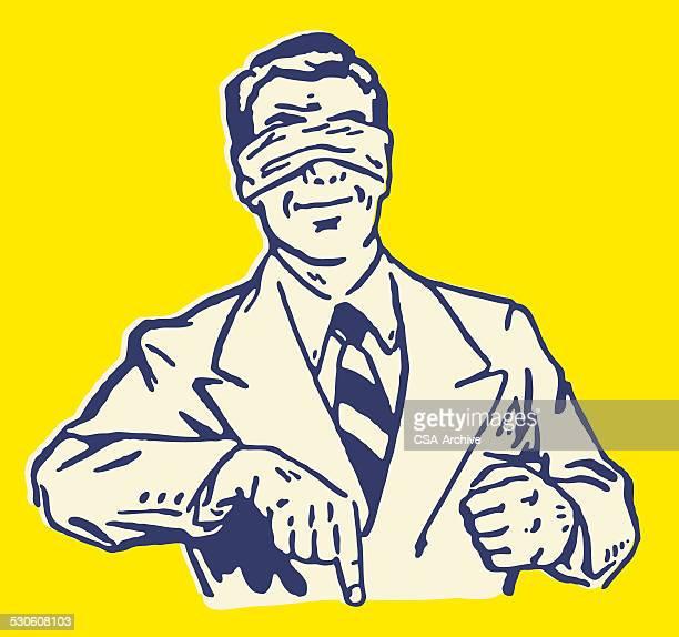 ilustraciones, imágenes clip art, dibujos animados e iconos de stock de hombre señalando blindfolded de - ojos tapados