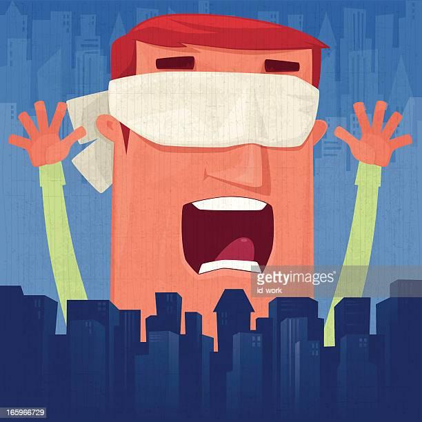 ilustraciones, imágenes clip art, dibujos animados e iconos de stock de blindfolded hombre saludar con la mano - ojos tapados