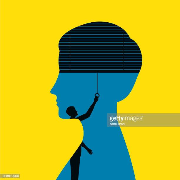 blindfolded woman illustration - politics concept stock illustrations
