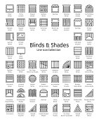 Blinds & Shades. Window shutters & panel curtains. Home decorative elements. Window coverings. Line icon collection.
