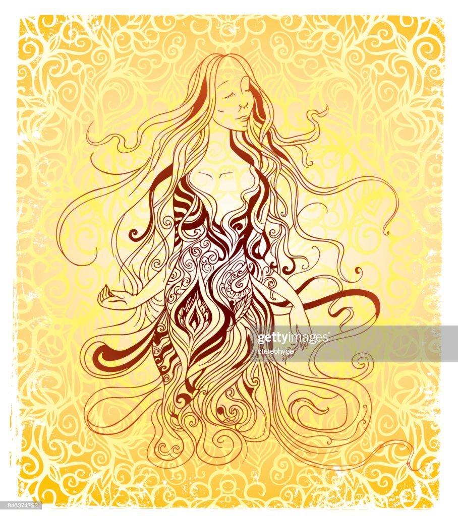 blissful woman : stock illustration
