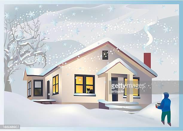 blizzard - bungalow stock illustrations, clip art, cartoons, & icons