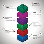 Block infographic concept teamwwork.
