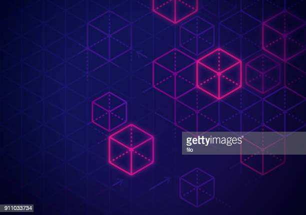 blockchain abstract background - technology stock illustrations, clip art, cartoons, & icons