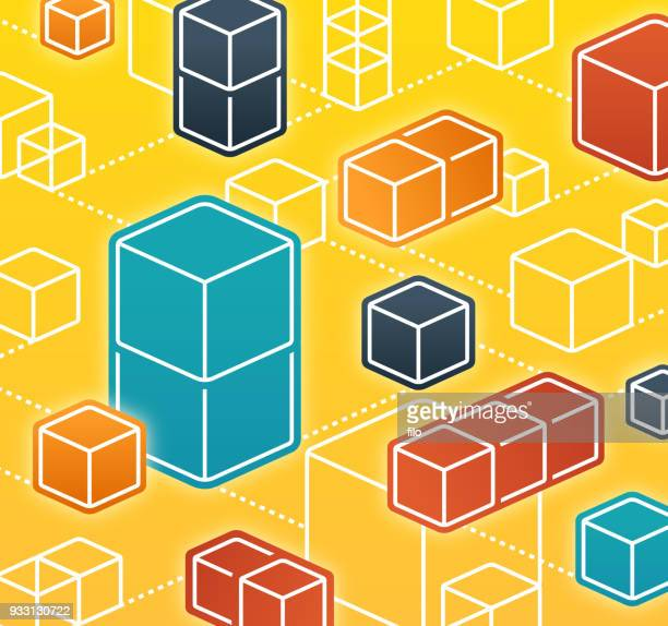 blockchain abstract cubes network - bloco stock illustrations