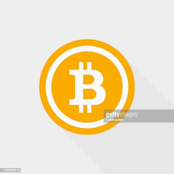 blockchain bitcoin icon - bitcoin stock illustrations