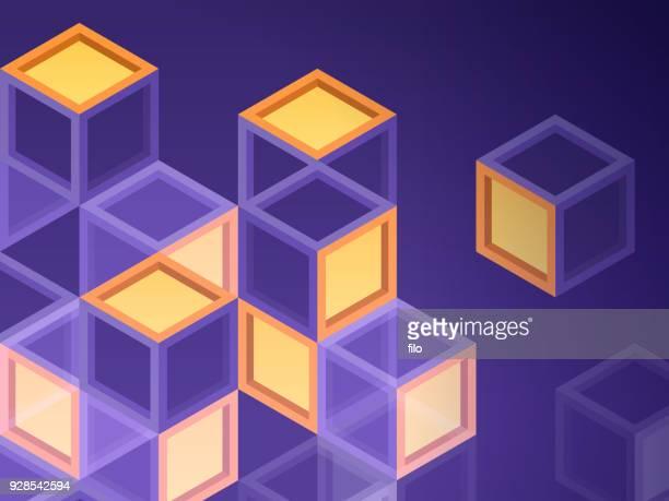 blockchain blocks - blockchain stock illustrations