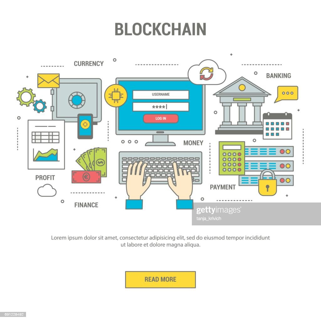 Blockchain concept finance banner with bitcoins