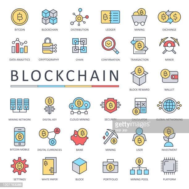 ブロックチェーン暗号通貨ビットコインアイコンセットカラー - 細線 - 仮想通貨マイニング点のイラスト素材/クリップアート素材/マンガ素材/アイコン素材