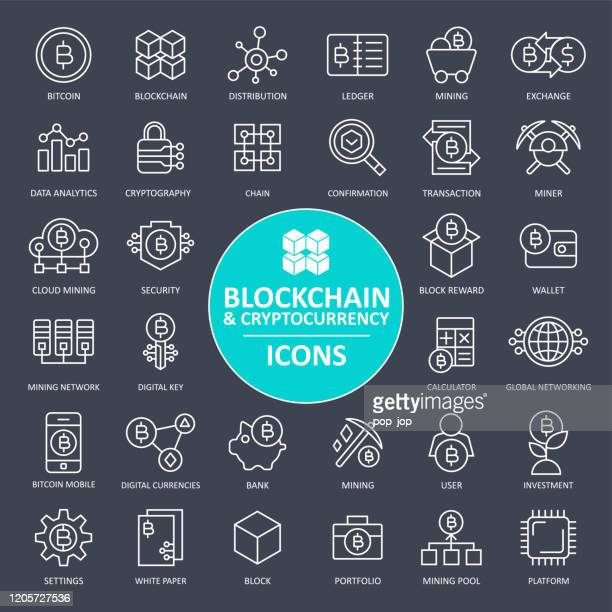 blockchain cryptocurrency bitcoin icon set - thin line - cryptocurrency stock illustrations