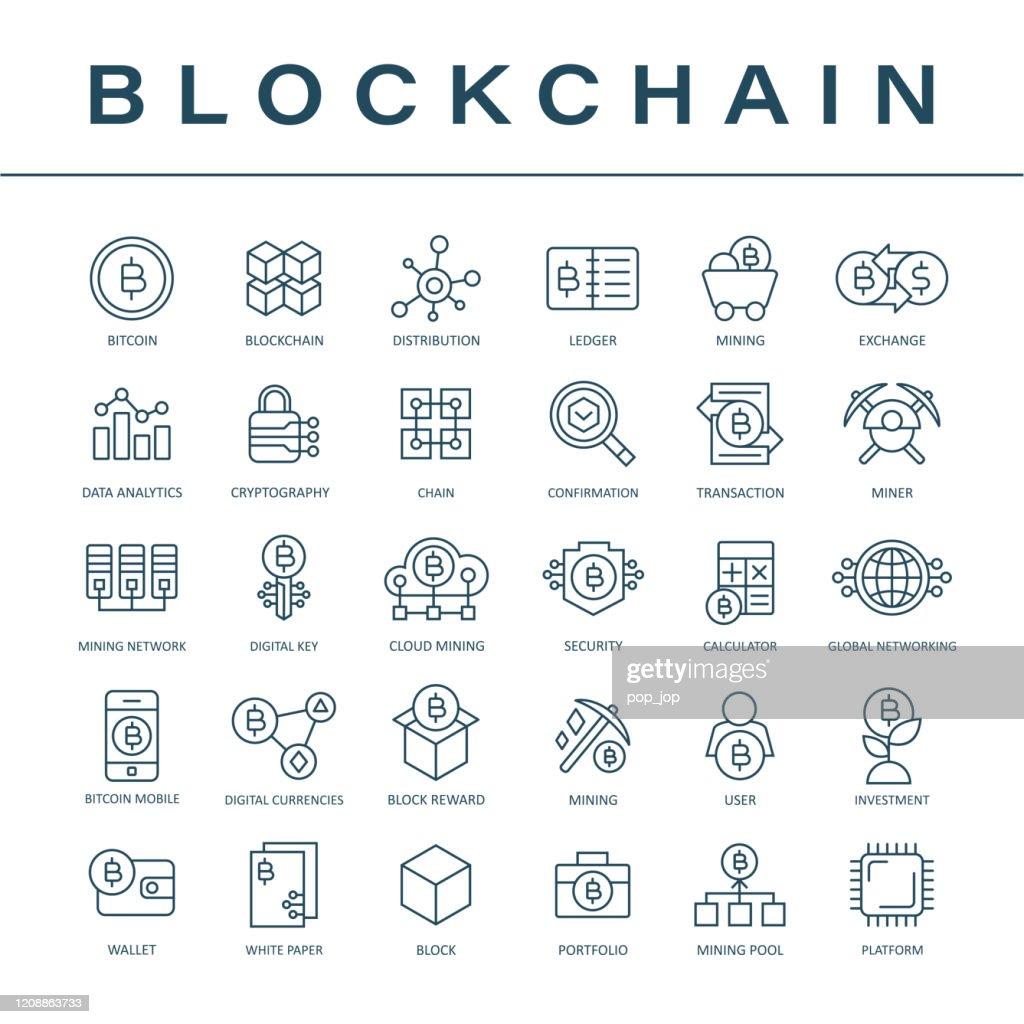 ブロックチェーン暗号通貨ビットコインアイコンセット - 細線 : ストックイラストレーション