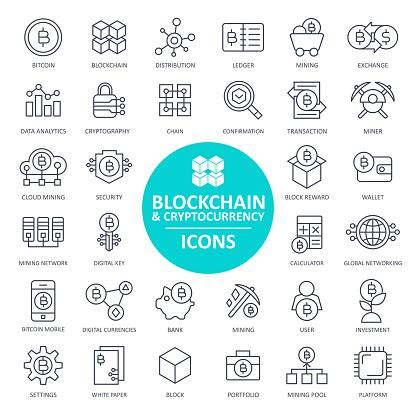 Blockchain Cryptocurrency Bitcoin Icon Set - Thin Line - gettyimageskorea