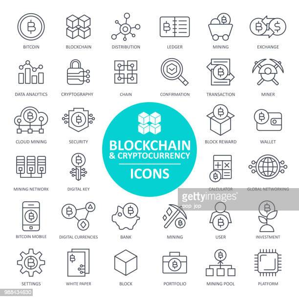 blockchain cryptocurrency bitcoin icon set - thin line - cryptocurrency mining stock illustrations