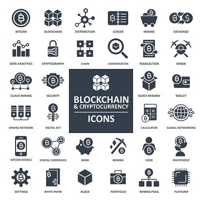 Blockchain Cryptocurrency Bitcoin Icon Set - gettyimageskorea