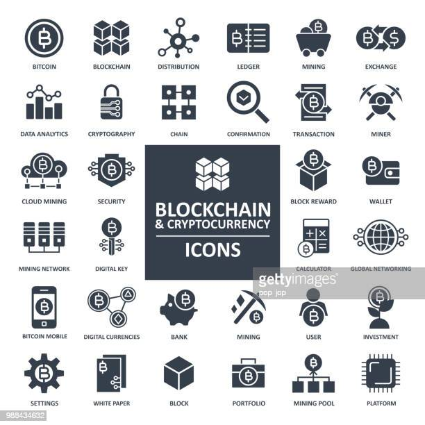 illustrations, cliparts, dessins animés et icônes de blockchain cryptocurrency bitcoin icon set - crypto monnaie