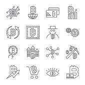 Blockchain, Cryptocurrency icons set. Editable Stroke