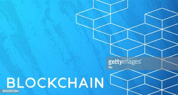 blockchain cubes background - bloco stock illustrations