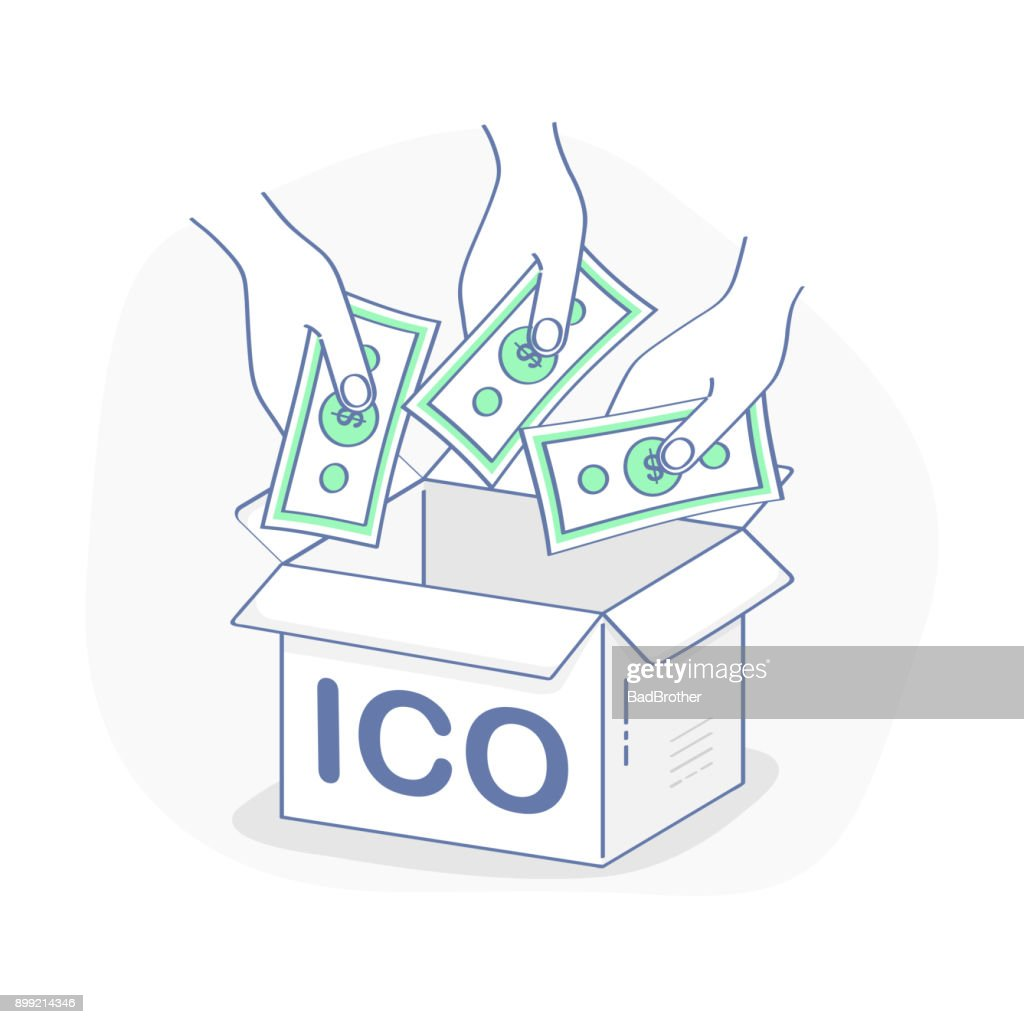 Blockchain ICO, Initial Coin Offering startup vector illustration - Vector Illustration