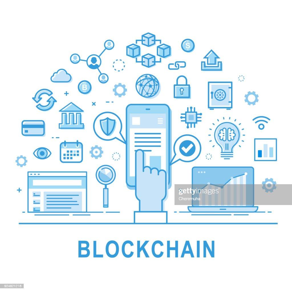 Blockchain icon set. Vector illustration.