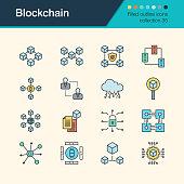 Blockchain icons. Filled outline design collection 35. For presentation, graphic design, mobile application, web design, infographics.