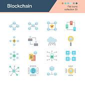 Blockchain icons. Flat design collection 35. For presentation, graphic design, mobile application, web design, infographics.
