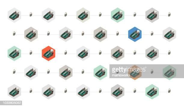 ilustrações de stock, clip art, desenhos animados e ícones de blockchain image - mathisworks