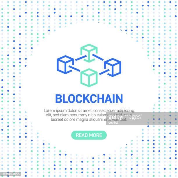 stockillustraties, clipart, cartoons en iconen met blockchain line iconen. eenvoudige overzichtspictogrammen met patroon - blockchain