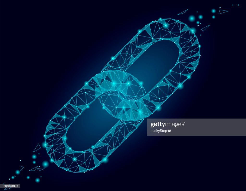 Blockchain link sign low poly design. Internet technology chain icon triangle polygonal hyperlink security business network concept. Blue futuristic style wire connected point vector illustration