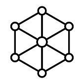 Blockchain Node Line Icon. Vector Simple Minimal 96x96 Pictogram
